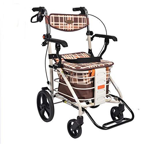 Rollator ligero Plegable Caminador de 4 ruedas con asiento acolchado Frenos bloqueables Manijas ergonómicas Carrito de la...