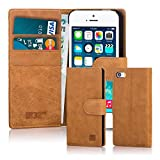 32nd® Premium Leather Wallet Case for Apple iPhone SE 5S 5, case made from genuine luxury Italian leather - Tan