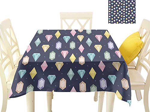 funkky Washable Table Cloth Graphic Gemstones with Different Shapes Trillion Drop and Marquise Cut Pattern W50 x L50, Great for Buffet Table