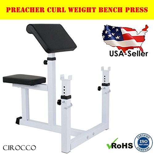 Cirocco Preacher Curl Weight Bench Press | Seated Arm Rest Curling Biceps Barbell Dumbbell - Adjustable Seat Bar Machine Isolated Station | For Commercial Home Gym Fitness Exercise Training Workout by Cirocco