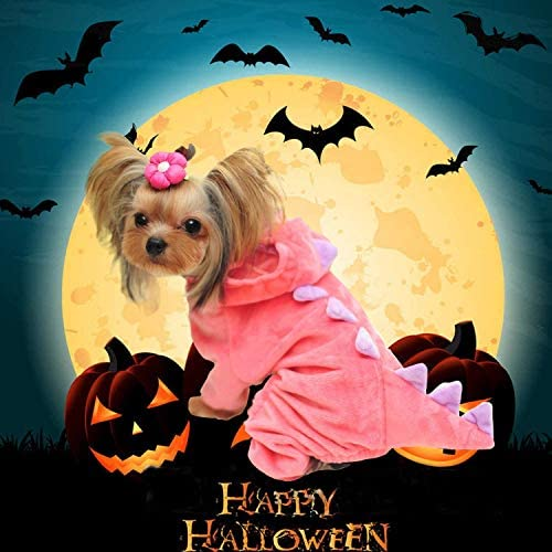 GBD Halloween Costume for Pet Dog Cat Dinosaur Plush Hoodies Animal Fleece Jacket Coat Warm Outfits Clothes for Small Medium Dogs Cats Halloween Cosplay Apparel Accessories 21