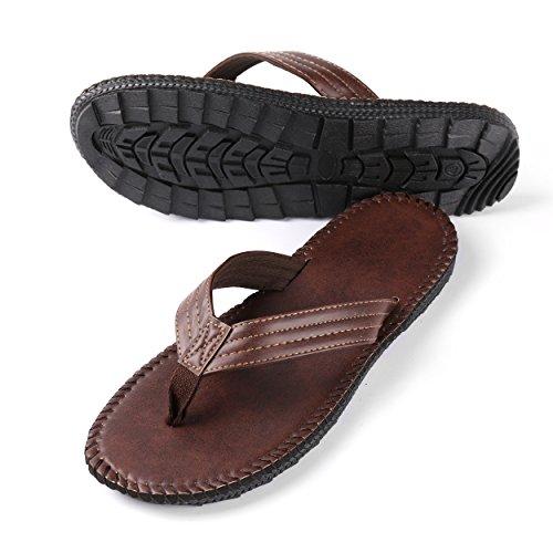 Aerusi Men's Boy's Flip Flops Sandals Leisure Casual Braid Strap Thongs Flat Beach Slippers Shoes (USA Man Size 9-10/Woman Size 10-11, Brown) by Aerusi (Image #7)
