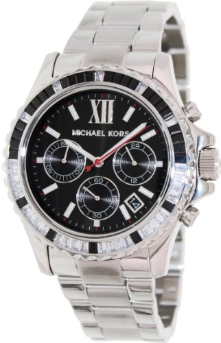 Michael Kors Everest Chronograph Black Dial Stainless Steel Ladies Watch - Stainless Ladies Steel Chronograph