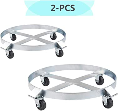 4 Swivel Casters Non Tipping Drum Dolly 55 Gallon Heavy Duty Barrel Cart 1000 lbs Steel Frame 1 Pack