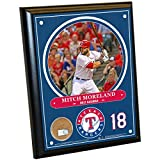 "MLB Texas Rangers Mitch Moreland Plaque with Game Used Dirt from Globe Life Park in Arlington, 8"" x 10"", Navy"