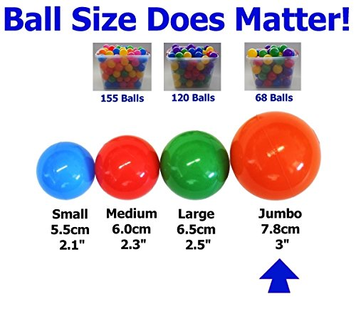 2.5X the Size - My Balls Pack of 150 pcs 3'' Jumbo Size Crush Proof Balls - Phthalate & BPA Free, Perfect amount for a Pack 'n Play ( as - Com The Www Hut