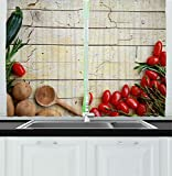 Images of Kitchen Window Curtains Ambesonne Kitchen Decor Collection, Cooking Vegetables Recipe Kitchenware Chef Rustic Wood Organic Utensil Cafe Art, Window Treatments for Kitchen Curtains 2 Panels, 55X39 Inches, Brown Red Green