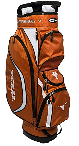 Team Golf NCAA Texas Longhorns Clubhouse Golf Cart Bag, Lightweight, 8-Way Top with Integrated Handle, 6 Zippered Pockets, Padded Strap, Towel Ring, Umbrella Holder & Removable Rain Hood