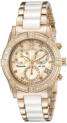 Swiss Precimax Women's SP13304 Desire Elite Ceramic Diamond Analog Display Swiss Quartz White Watch