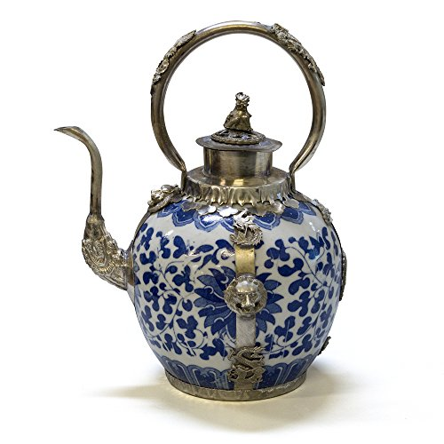 (China Furniture Online Porcelain Tea Pot, Hand Painted Floral Motif with Silver Dragon and Phoenix Handle and Trim Decorative Pot Blue and White Glaze)