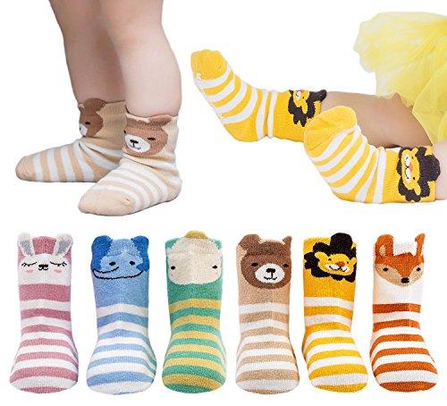 6 Pairs Toddler Socks, Non Skid Cotton Socks for Baby Boys & Girls (Cartoon Animal Rabbit Elephant Hippo Bear Lion Fox)