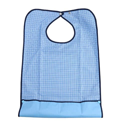 HEALIFTY Plaid Machine Washable Double Layer Adult Waterproof Bib Mealtime Clothing Protector with Detachable Crumb Catcher
