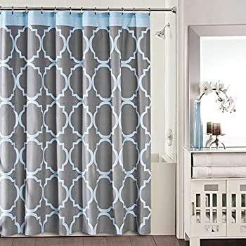 blue and gray shower curtain. Studio 3B Jay Fret Shower Curtain in Grey Blue Amazon com  Home
