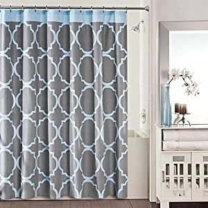 studio 3b jay fret shower curtain in grey blue