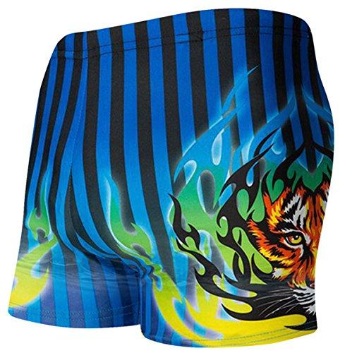 Men's Tiger Print Square Leg Swimsuit Swim Shorts Swimwear with Stripes, 1# Black + Blue, Tag Size XXL = US L(Waist 36