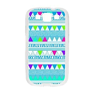 Aztec Colorful Pattern Bohemian Style Blue Polka Dot and Zigzag Design Custom Cover Case For Samsung I9300 GALAXY S3(White) with Best Plastic