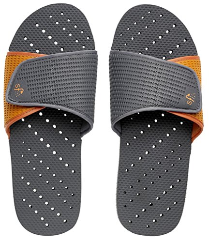 Showaflops Mens Antimicrobial Shower & Water Sandals for Pool, Beach, Dorm & Gym - Adjustable Colorblock Slide Grey/Orange
