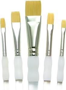 Royal Brush Soft Grip Bottom Flat Golden Taklon Fiber Paint Brush Set, Assorted Size, Set of 5