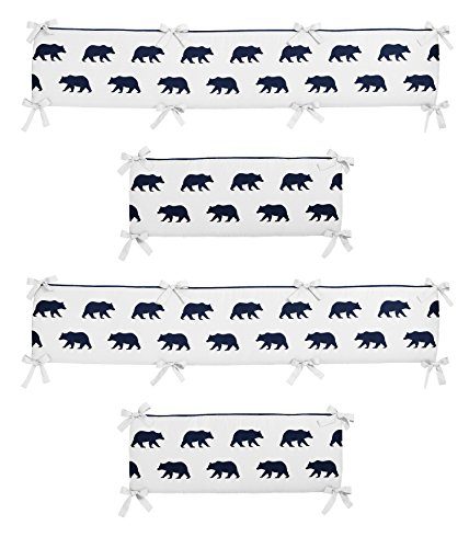Sweet Jojo Designs Navy Blue and White Baby Crib Bumper Pad for Big Bear Collection by