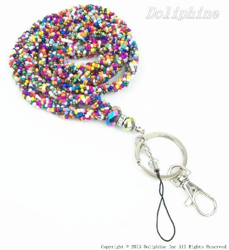 (Crystal Mini Seed Beaded Necklace Lanyard Keychain with Clasp for Key/ID/Cell Phone Holder (13 Colors for Choice) (Rainbow))