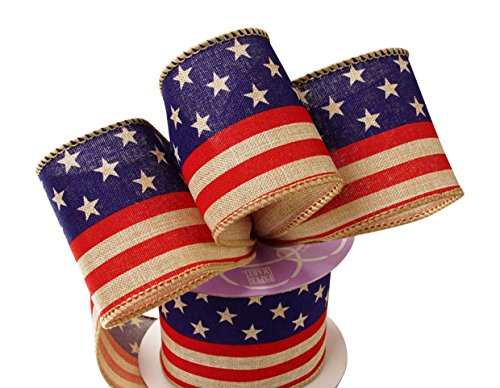 American USA Flag 4th of July Stars and Stripes Printed Burlap Ribbon for - American Ribbon