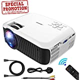 "Projector, DBPOWER 2018 Upgraded Z400 Lumens Mini Projector 176"" Display 50,000 Hours LED Portable Video Projector 1080P, Compatible with HDMI,AV, USB, SD, Amazon Fire TV Stick for Home Cinema,White"