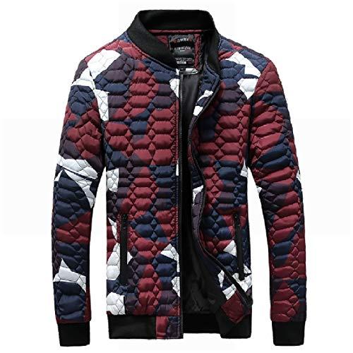 RkBaoye Men Plus-Size Jackets Zipper Trim-Fit Camo Stand Collar Down Parka Red