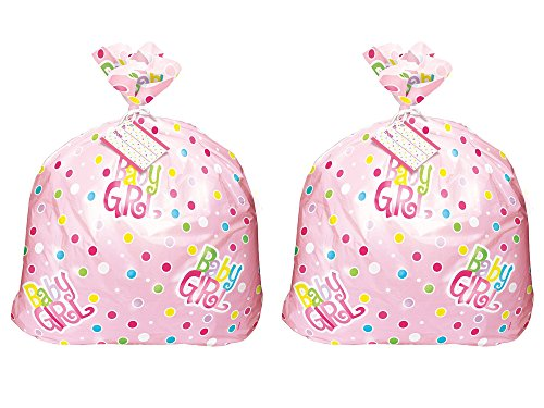 Set of 2 Unique Industries Jumbo Plastic Pink Polka Dot Girl Baby Shower Gift Bag bundled by Maven Gifts for $<!--$9.54-->