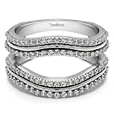 TwoBirch Sterling Silver Double Row Wedding Ring Guard Enhancer with Cubic Zirconia (0.75 ct. tw.)