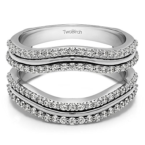 TwoBirch Sterling Silver Double Row Wedding Ring Guard Enhancer with Cubic Zirconia (0.75 ct. tw.) by TwoBirch
