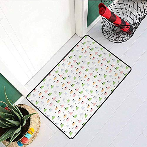GloriaJohnson Pastel Front Door mat Carpet Grunge Pattern with Colorful Apples Pears and Leaves Sweet and Tasty Summer Fruits Machine Washable Door mat W29.5 x L39.4 Inch Multicolor