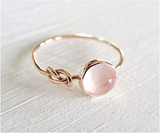 Women Gorgeous 18K Rose Gold Filled Rings Citrine Birthstone Wedding Ring Set
