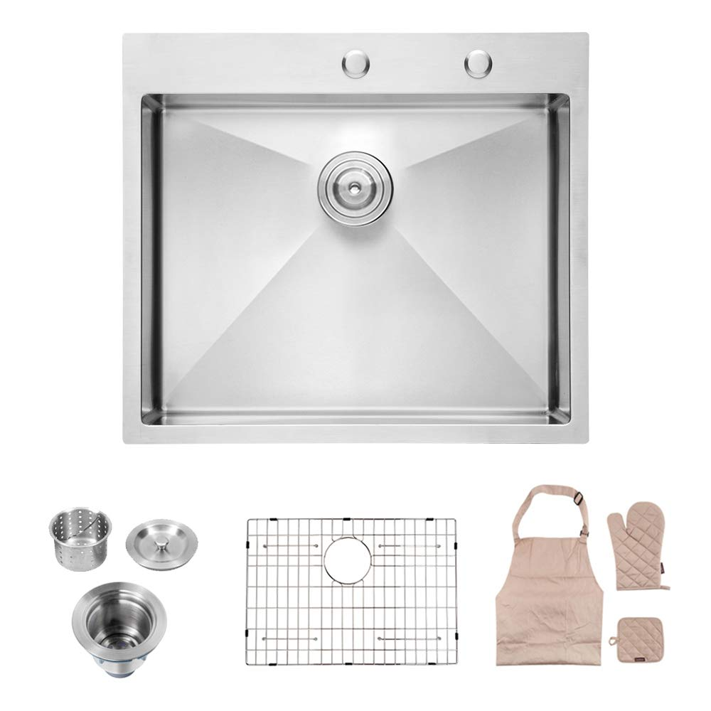 Lordear LT2522R1 25 x 22x 10 Inch Drop-in Topmount 16 Gauge R10 Tight Radius Stainless Steel Kitchen Sink Single Bowl