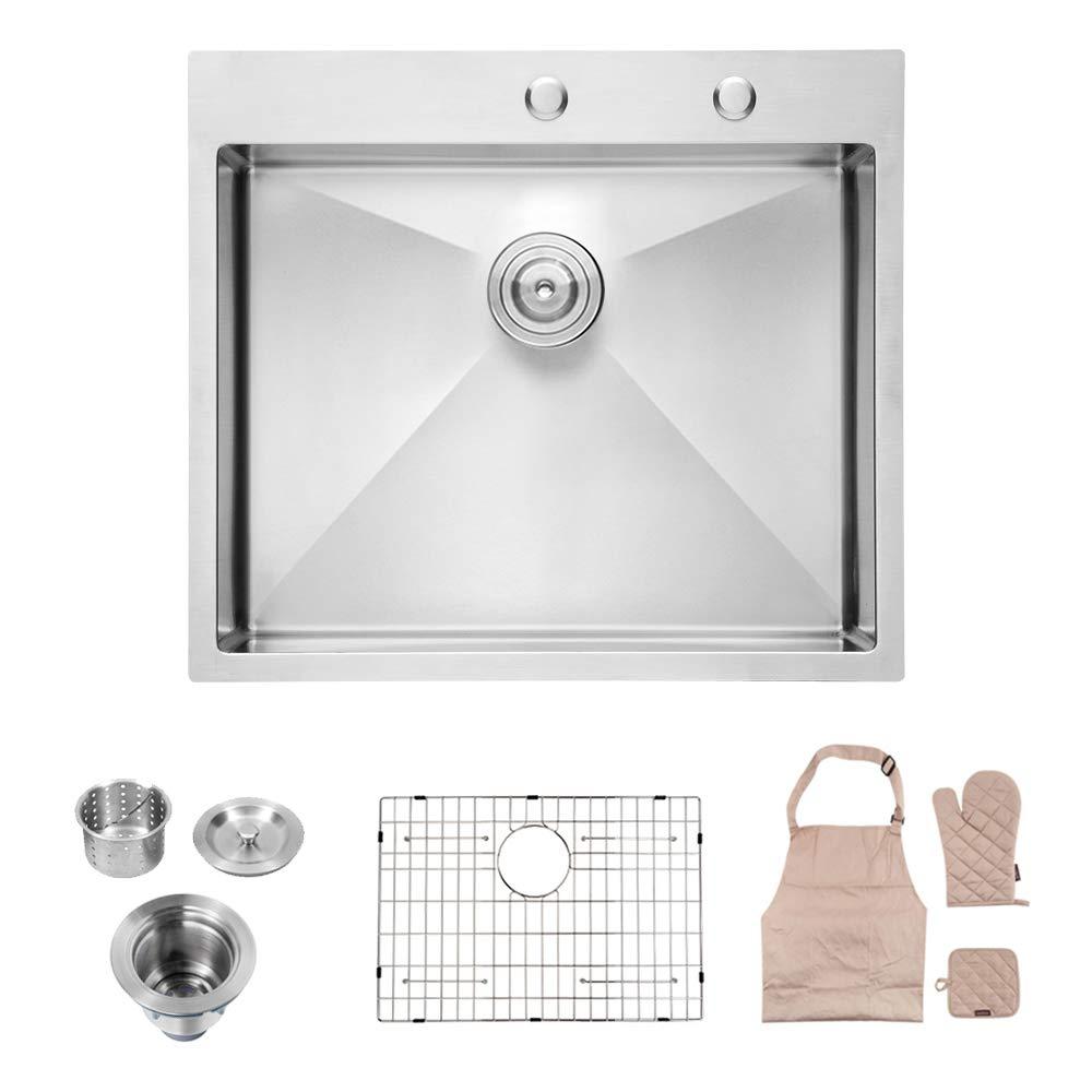 Lordear LT2522R1 25 x 22x 10 Inch Drop-in Topmount 16 Gauge R10 Tight Radius Stainless Steel Kitchen Sink Single Bowl by Lordear