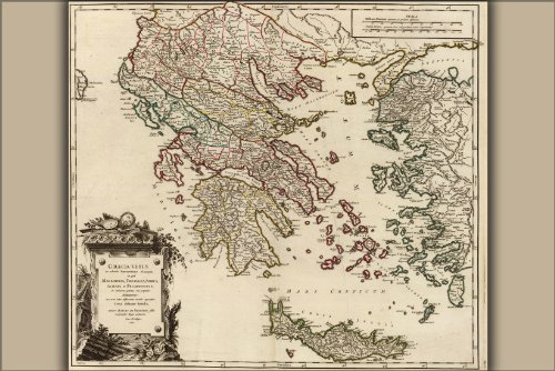 Poster - Map of Ancient Greece, Macedonia, Thessaly by Vaugondy
