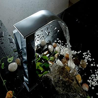 LightInTheBox Contemporary Centerset Waterfall with Ceramic Valve Single Handle One Hole for Chrome , Bathroom Sink Faucet