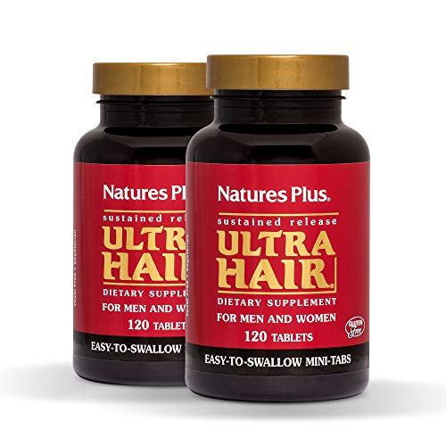 NaturesPlus Ultra Hair, Sustained Release (2 Pack) - 120 Easy to Swallow Mini Tablets - Natural Hair Growth for Men & Women - Longer, Thicker Hair - Vegetarian, Gluten-Free - 60 Total Servings
