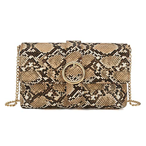Charming Tailor Snake Clutch Purse with Wrist Strap PU Python Clutch Dress Handbag (Beige)