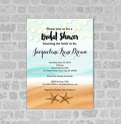 Amazon Beach Theme Bridal Shower Invitation Starfish and – Beach Wedding Shower Invitations