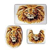 Fashion 3D Baseball Printed,Safari Decor,Illustration of The Lion King Biggest Cat in Africa Icon Animal in Tropics Artwork,Orange White,U-Shaped Toilet Mat+Area Rug+Toilet Lid Covers 3PCS/Set