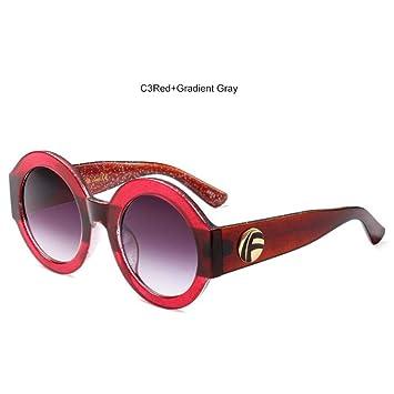 LIUYAWEI Brillo Gafas de Sol Redondas Mujer 2019 ...