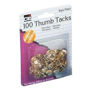 "Charles Leonard Thumb Tacks - 3/8"" Solid HEachd - Brass Plated - 100/Card, 80938"