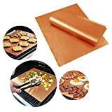 Plus Mi Life 2Pcs Copper Chef Grill and Bake Mats BBQ Pad Tool Camping Hiking Home Outdoor