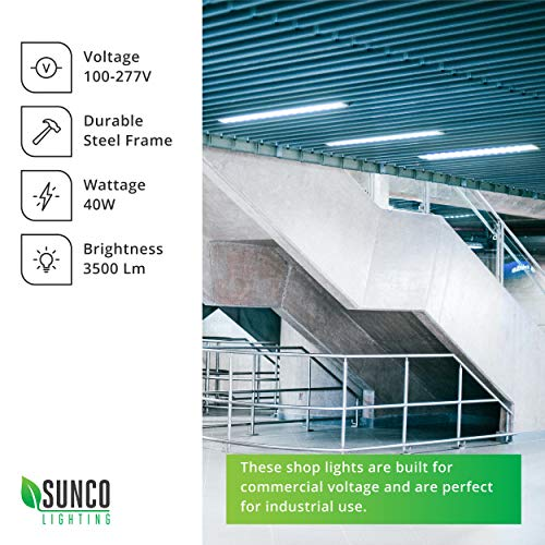 Sunco Lighting 2 Pack Wraparound LED Shop Light, 4 FT, Linkable, 40W=300W, 3500 LM, 5000K Daylight, Integrated LED, Direct Wire, Flush Mount Fixture, Utility Light, Garage- ETL, Energy Star by Sunco Lighting (Image #3)