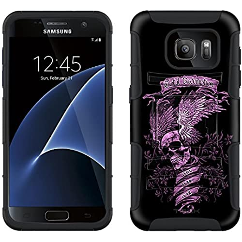 Samsung Galaxy S7 Armor Hybrid Case Skull Wing Purple on Black 2 Piece Case with Holster for Samsung Galaxy S7 Sales