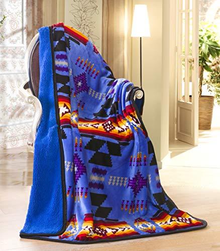 Nu Trendz Signature Southwest Design (Navajo Print) Sherpa Lined Throw 16112 Royal Blue (American Native Geometric Designs)