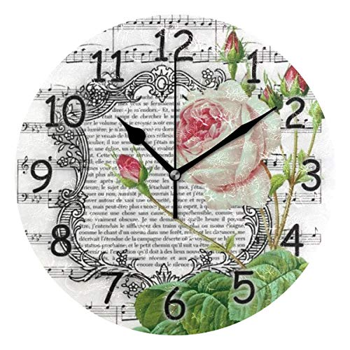 Jacksome Round Wall Clock Vintage Style Design Round Decorative Wall Clock for Bedroom Decor