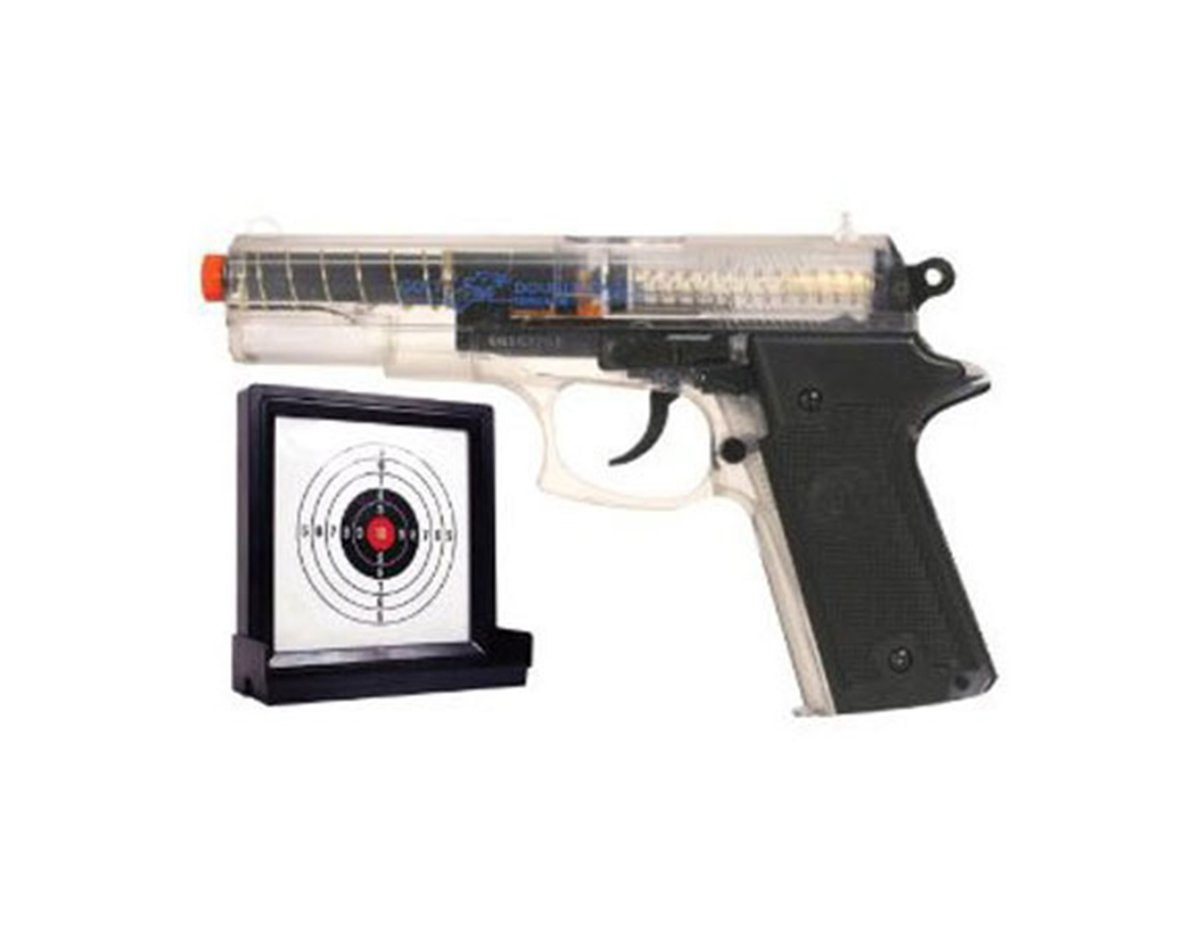 Double Eagle Spring Pistol,clear clam with an extra magazine and a target.