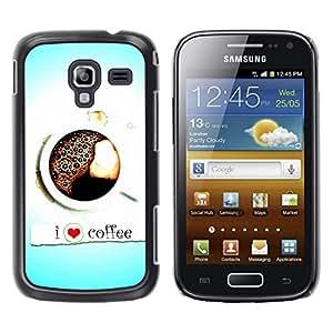 TopCaseStore / la caja del caucho duro de la cubierta de protección de la piel - Design I Love Coffee - Samsung Galaxy Ace 2 I8160 Ace II X S7560M