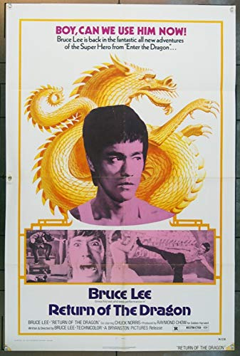(Return Of The Dragon (1974) Original U.S. One Sheet Movie Poster 27x41 BRUCE LEE CHUCK NORRIS NORA MIAO Film directed by BRUCE LEE Fine Plus Condition)